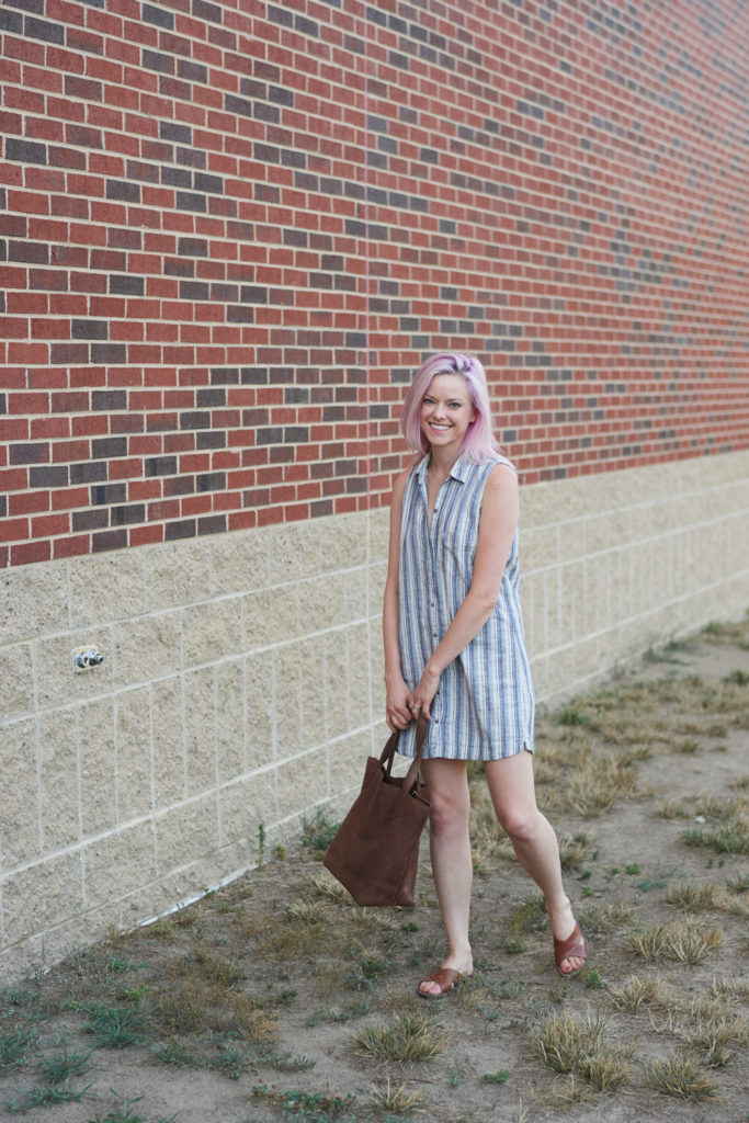Sleeveless shirt dress champagne thursday summer outfit boston style blogger